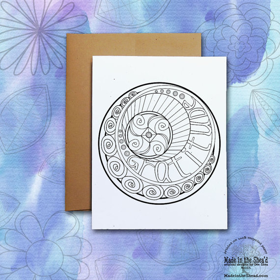 Color Me Gratitude Recycled Paper Notecard It Yourself Or Give To Your Favorite
