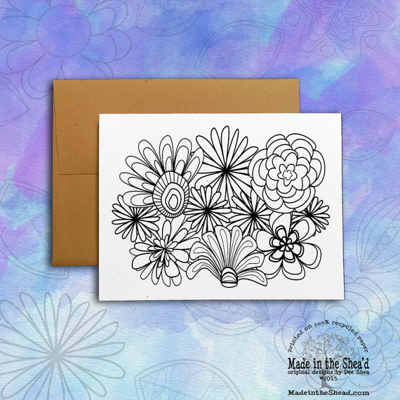Color Me! Flowers Recycled Paper Notecard | Made in the Shea\'d