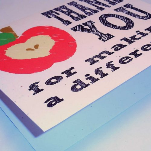 Thank You for making a difference Recycled Paper Notecard on 100% recycled paper, blank inside, teacher thank you card