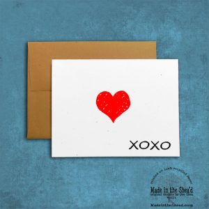 xoxo with heart. Recycled Paper Valentine Card, Typography Love Note on 100% recycled paper, blank inside, love