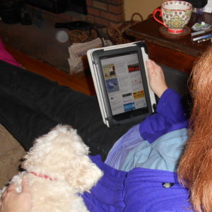 photo of me reading with my puppy