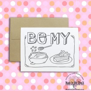 Be My Honey Pie Color Your Own Recycled Paper Notecard Hand-Lettered Design Valentine Card, blank inside