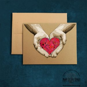 Heart in Hands Recycled Paper Valentine Card, Hand-Lettering: blank inside, simple Valentine