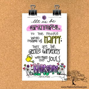 Let Us Be Grateful Proust Quote Print on Recycled Paper…Great Teacher Gift!...unframed Lettering Design 4x6 or 5x7