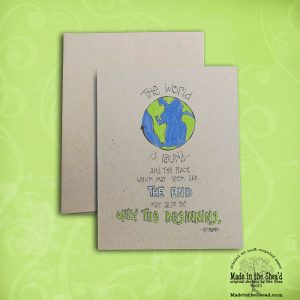 The World is Round  Recycled Paper Notecard... Hand-Lettering Design A2 Size