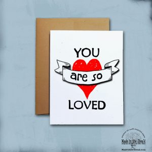 You are So Loved Recycled Paper Valentine Card, Hand-Lettering Love Note on 100% recycled paper, blank inside