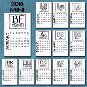 """CLEARANCE! 2016 MINI Desktop Calendar on Recycled Paper , mini CD Case, """"Just Be"""" Hand-Lettered + Doodled, Inspirational Fun Eco-Friendly"""