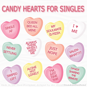 illustration candy hearts for singles
